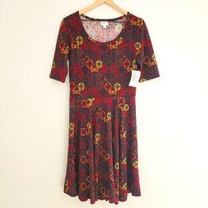 LuLaRoe Nicole Dress Boho NWT L